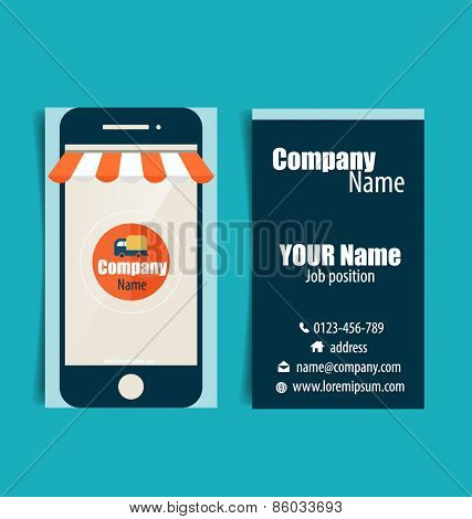 Modern business card template with Business concept, Online shopping, Infographics background E-commerce, vector illustration.