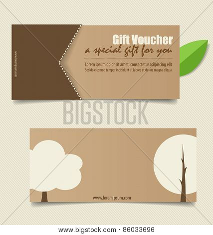 Gift coupons with Nature background. Vector illustration.