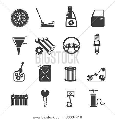 Auto Service Icons Black