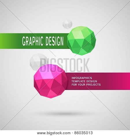 Abstract infographic design with two color spherical elements on grey background