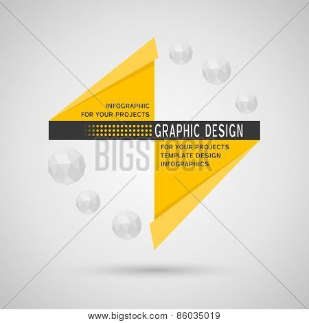 Abstract infographic design with yellow geometric elements on gray background
