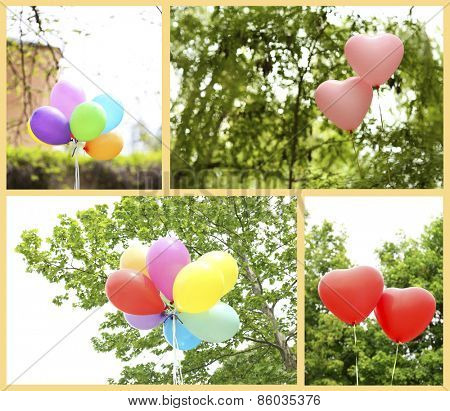 Collage of balloons flying outdoors