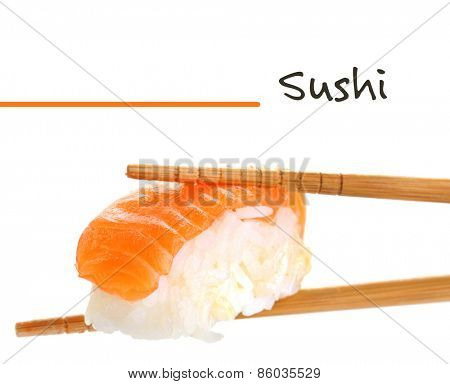 Sushi with chopsticks isolated on white