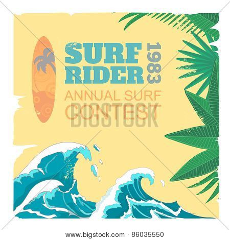 Sport surf typography, t-shirt graphics, vectors