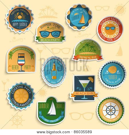 Summer vacation emblems stickers set