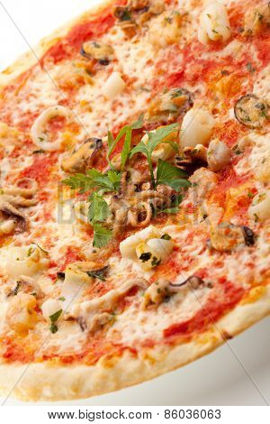 Seafood Pizza made with Tomato Sauce and  Mozzarella