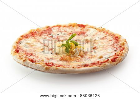 Pizza made with Mozzarella, Parmesan Cheese and Tomato Sauce
