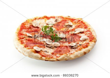 Pizza made with Ham and Mushrooms. Garnished with Parsley