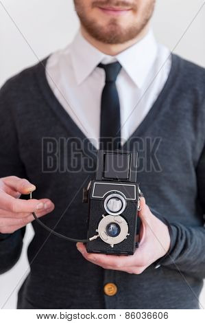 Man With Old Style Camera.