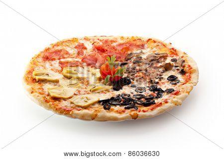 Pizza made with Mozzarella, Mushrooms, Artichoke, Ham, Olives and Tomato Sauce