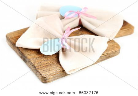 Napkins with Easter decoration  isolated on white