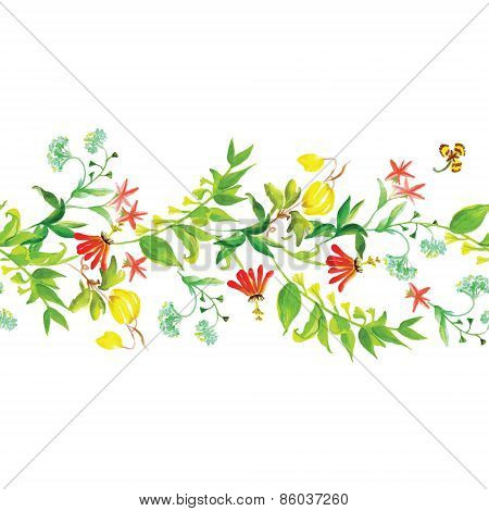 Summer Flowers Seamless Horizontal Vector Banner
