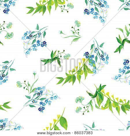 Meadow Flowers Watercolor Seamless Vector Print