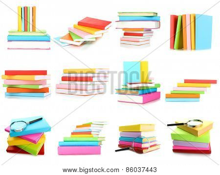 Different compositions with colorful books isolated on white in collage
