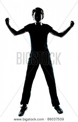 one  young teenager silhouette boy or girl happy jumping screaming full length in studio cut out isolated on white background