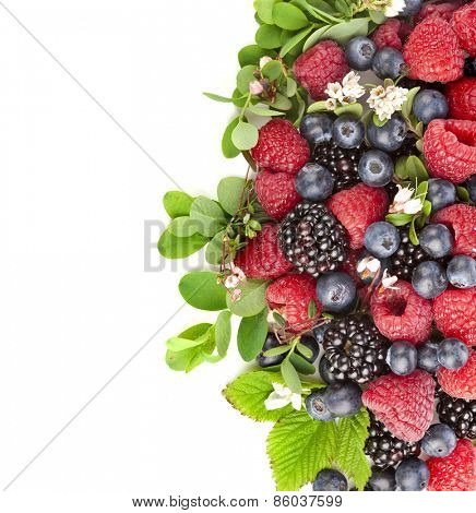 Border of tasty berries with flowering plant, top view, surface,  isolated on a white background