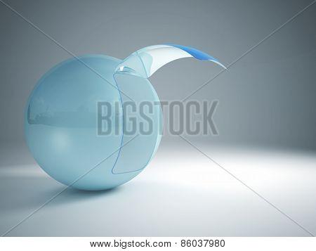 3d image of blue glass sphere with door