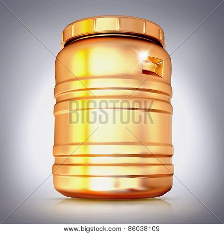 Golden Plastic Barrel  On A Grey Background.