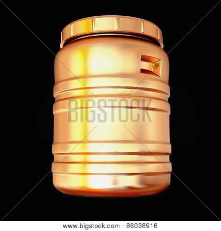 Golden Plastic Barrel Isolated On A Black Background.