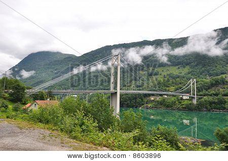 Bridge over fjord.