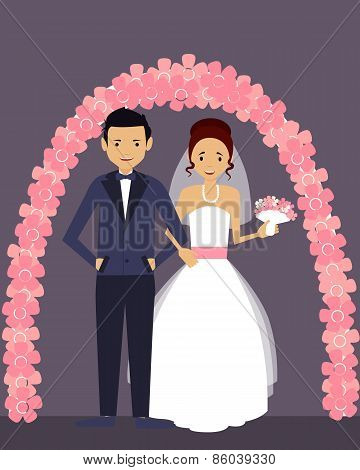 Wedding. Happy groom and bride in white dress. Vector illustration