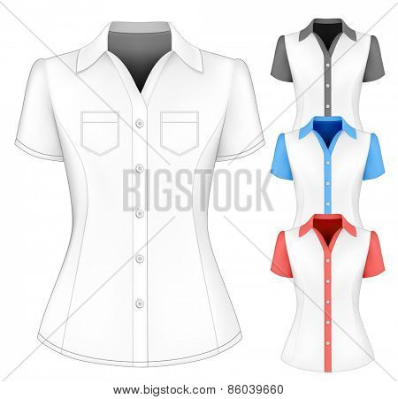 Formal short sleeved blouses for lady. Vector illustration.