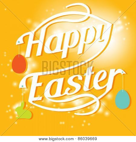 Happy easter card with text, cartoon colored eggs and bunny