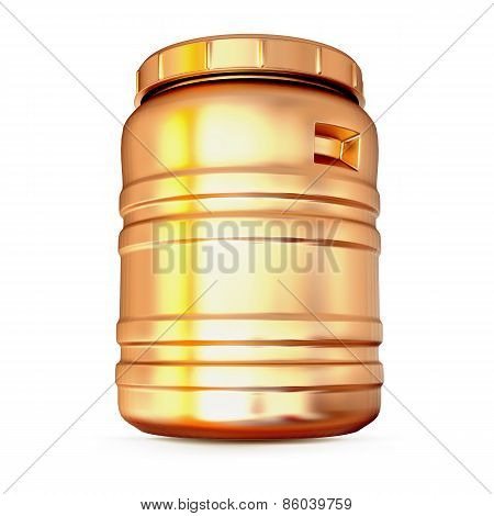 Golden Plastic Barrel Isolated On A White Background.