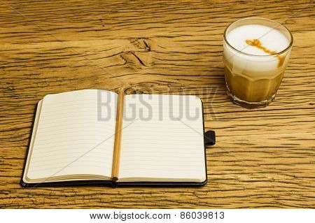 Concept Empty Notebook Plan Coffee