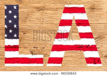 La Painted With Pattern Of Flag United States Old Oak Wood