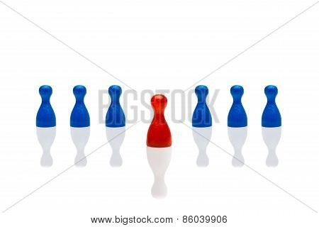 Business Concept Leadership Step Forward Red Blue