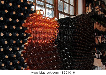 A Lot Of Good Wine Bottles In The Wine Cellar