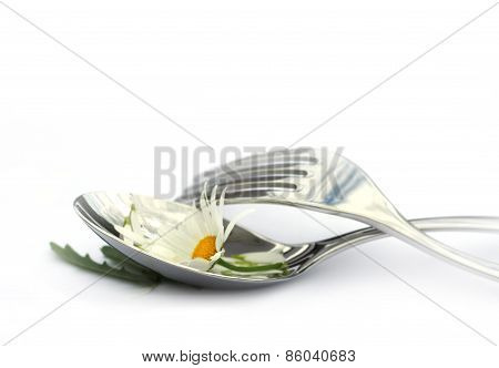 Spoon and fork with chamomile flower.
