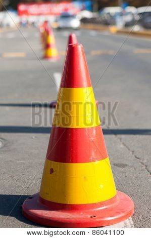 Protection Cones Of A Site Of The Road