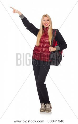 Young woman student with backpack isolated on white