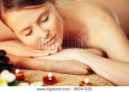 Close-up of woman relaxing at spa salon