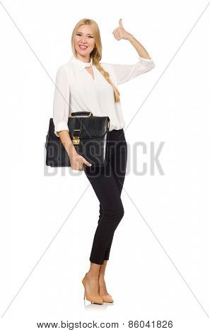 Businesswoman in business concept isolated on white