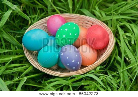 Basket Of Colorful Eggs