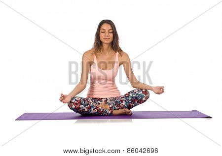 Woman doing sport exercises isolated on white