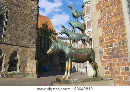 Exterior of the statue of the Town Musicians of Bremen in Bremen Germany.
