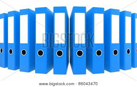 Office blue blank folders. 3d render illustration
