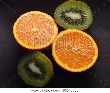 orange and kiwi cut in half
