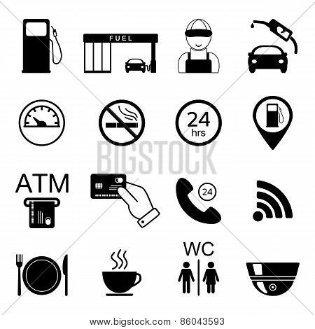 Gas Station Icons. Fuel Isolated Icons. Vector