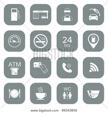 Set Of Gas Station Icons. Fuel Glyph Icons. Vector