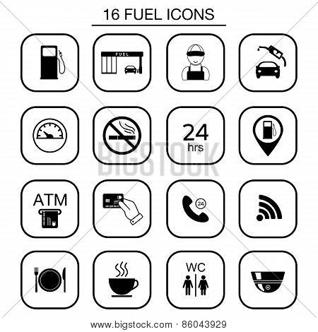 Set Of Gas Station Icons. Isolated. Vector