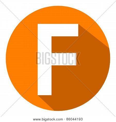 Letter F In Orange Circle.