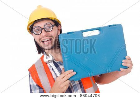 Foreman with tool kit isolated on white