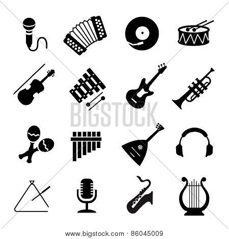 Vector Assorted black musical instruments icons set  on white