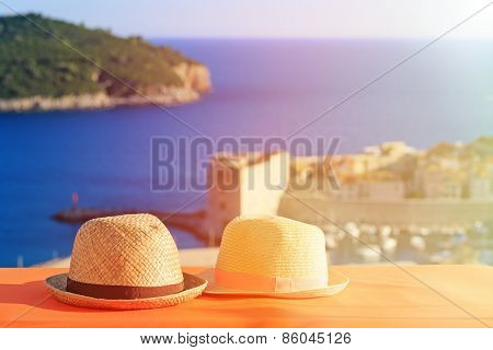 two hats on vacation in Europe, Croatia