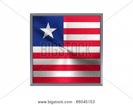 Square Metal Button With Flag Of Liberia